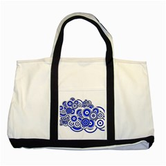 Trippy Blue Swirls Two Toned Tote Bag