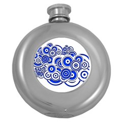Trippy Blue Swirls Hip Flask (Round)