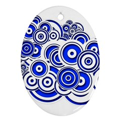 Trippy Blue Swirls Oval Ornament (two Sides)