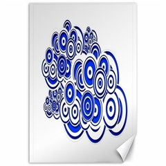 Trippy Blue Swirls Canvas 24  x 36  (Unframed)