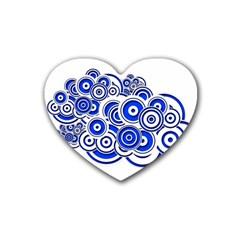 Trippy Blue Swirls Drink Coasters (Heart)