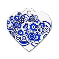 Trippy Blue Swirls Dog Tag Heart (Two Sided)