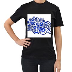 Trippy Blue Swirls Women s T-shirt (Black)