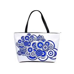 Trippy Blue Swirls Large Shoulder Bag