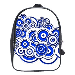 Trippy Blue Swirls School Bag (Large)