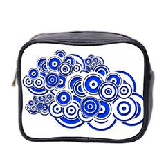Trippy Blue Swirls Mini Travel Toiletry Bag (two Sides)
