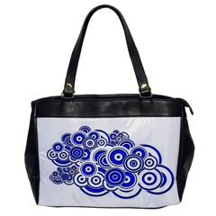 Trippy Blue Swirls Oversize Office Handbag (One Side)