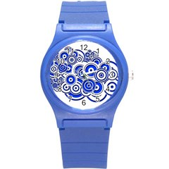 Trippy Blue Swirls Plastic Sport Watch (Small)