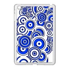 Trippy Blue Swirls Apple iPad Mini Case (White)