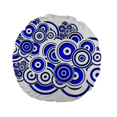 Trippy Blue Swirls 15  Premium Round Cushion