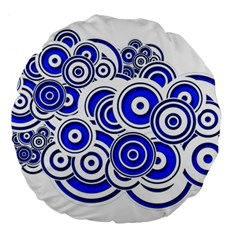 Trippy Blue Swirls 18  Premium Round Cushion