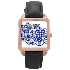 Trippy Blue Swirls Rose Gold Leather Watch