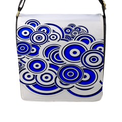 Trippy Blue Swirls Flap Closure Messenger Bag (Large)