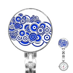 Trippy Blue Swirls Stainless Steel Nurses Watch