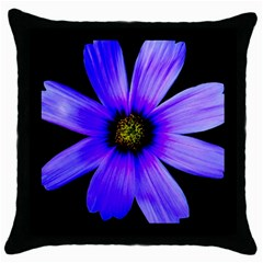 Purple Bloom Black Throw Pillow Case