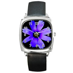 Purple Bloom Square Leather Watch