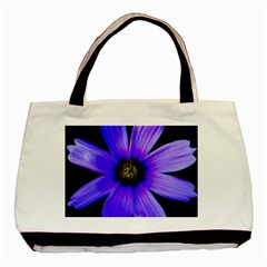 Purple Bloom Twin-sided Black Tote Bag