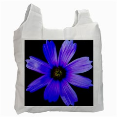 Purple Bloom White Reusable Bag (one Side)
