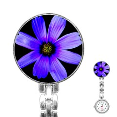 Purple Bloom Stainless Steel Nurses Watch