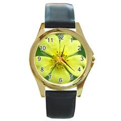 Yellowwildflowerdetail Round Leather Watch (gold Rim)