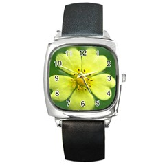 Yellowwildflowerdetail Square Leather Watch