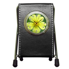 Yellowwildflowerdetail Stationery Holder Clock