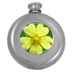 Yellowwildflowerdetail Hip Flask (Round)