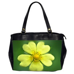 Yellowwildflowerdetail Oversize Office Handbag (Two Sides)