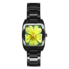 Yellowwildflowerdetail Stainless Steel Barrel Watch