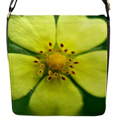 Yellowwildflowerdetail Flap Closure Messenger Bag (Small)