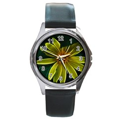 Yellow Wildflower Abstract Round Leather Watch (Silver Rim)