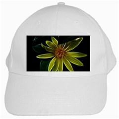 Yellow Wildflower Abstract White Baseball Cap