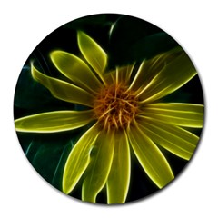 Yellow Wildflower Abstract 8  Mouse Pad (Round)