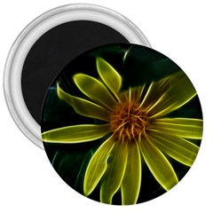 Yellow Wildflower Abstract 3  Button Magnet