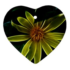 Yellow Wildflower Abstract Heart Ornament