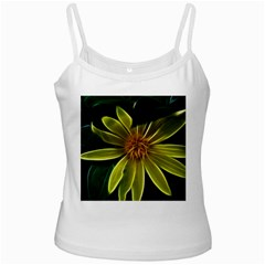 Yellow Wildflower Abstract White Spaghetti Tank