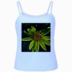 Yellow Wildflower Abstract Baby Blue Spaghetti Tank