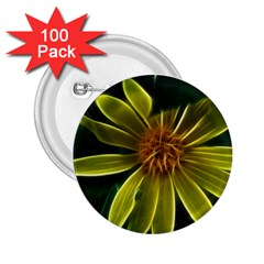 Yellow Wildflower Abstract 2.25  Button (100 pack)