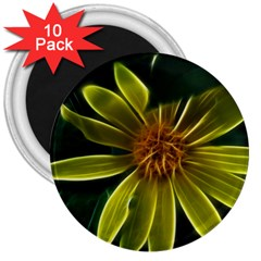Yellow Wildflower Abstract 3  Button Magnet (10 pack)