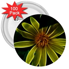 Yellow Wildflower Abstract 3  Button (100 pack)