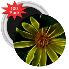 Yellow Wildflower Abstract 3  Button Magnet (100 pack)