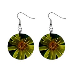 Yellow Wildflower Abstract Mini Button Earrings