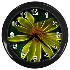 Yellow Wildflower Abstract Wall Clock (Black)