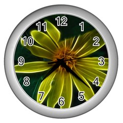 Yellow Wildflower Abstract Wall Clock (Silver)