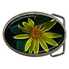 Yellow Wildflower Abstract Belt Buckle (oval)