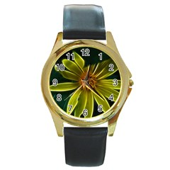 Yellow Wildflower Abstract Round Leather Watch (gold Rim)
