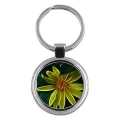 Yellow Wildflower Abstract Key Chain (Round)
