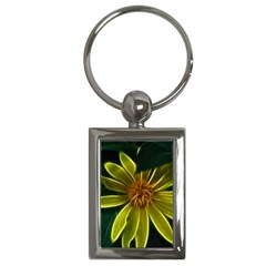 Yellow Wildflower Abstract Key Chain (Rectangle)