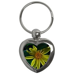 Yellow Wildflower Abstract Key Chain (Heart)