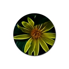 Yellow Wildflower Abstract Drink Coasters 4 Pack (Round)